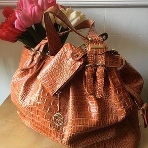 JESSICA SIMPSON croc embossed large handbag tote